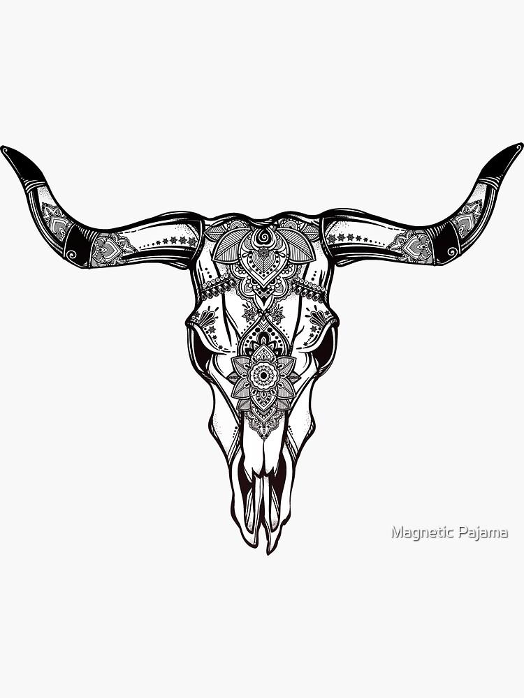 Cow Skull Ornate Hand Drawn Western Art by MagneticMama