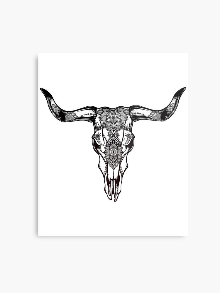 Cow Skull Ornate Hand Drawn Western Art Metal Print