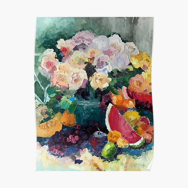 Beautiful Bounty of Flowers and Fruit Poster