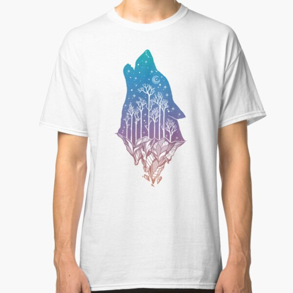 Lone Wolf Howling at the Moon in a Forest on a Mountain Range Classic T-Shirt