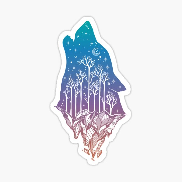 Lone Wolf Howling at the Moon in a Forest on a Mountain Range Sticker