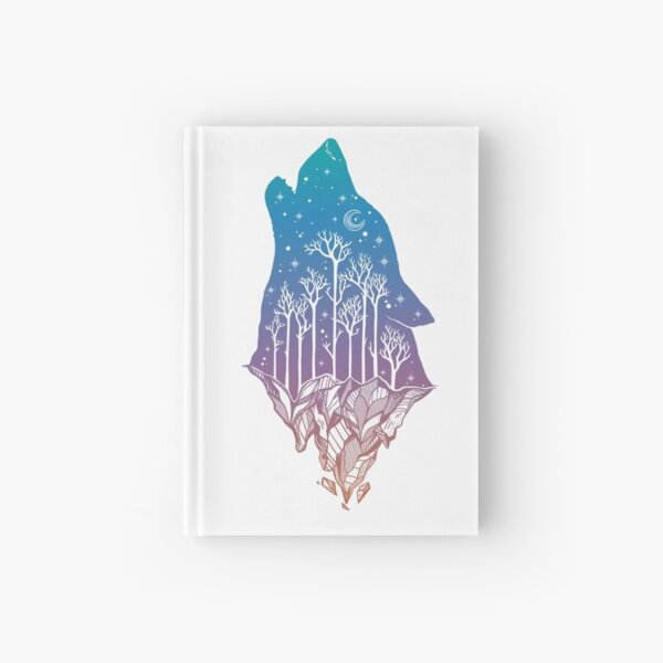 Lone Wolf Howling at the Moon in a Forest on a Mountain Range Hardcover Journal