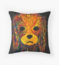 Lily Cavalier 2 Finger Painted Matt Kinnaman MKinnamanArt Throw Pillow