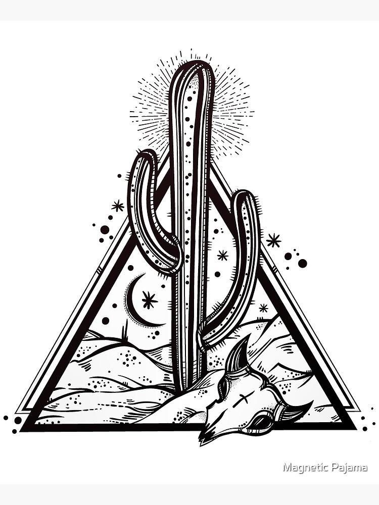 Cactus with Cow Skull Desert Scene inside Sacred Geometry Pyramid by MagneticMama