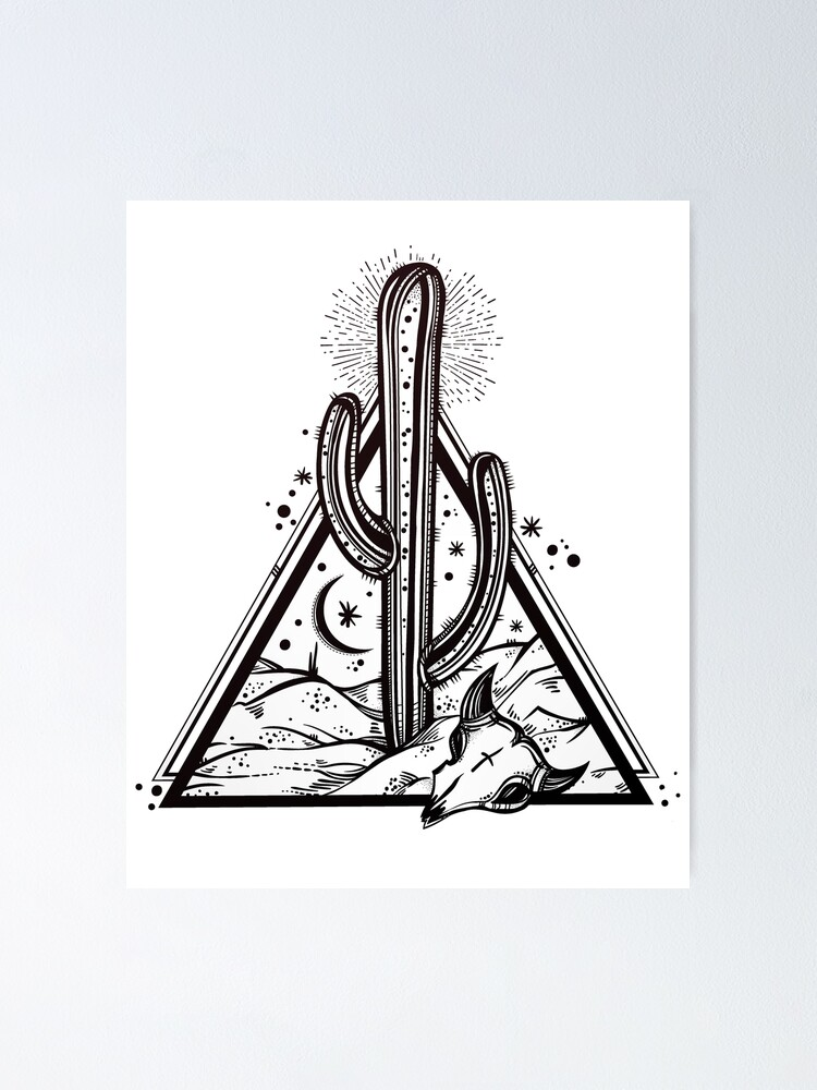 Alternate view of Cactus with Cow Skull Desert Scene inside Sacred Geometry Pyramid Poster