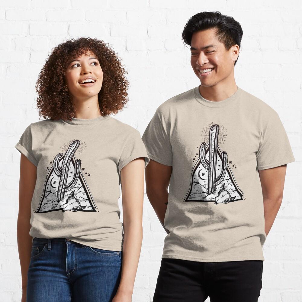 Cactus with Cow Skull Desert Scene inside Sacred Geometry Pyramid Classic T-Shirt