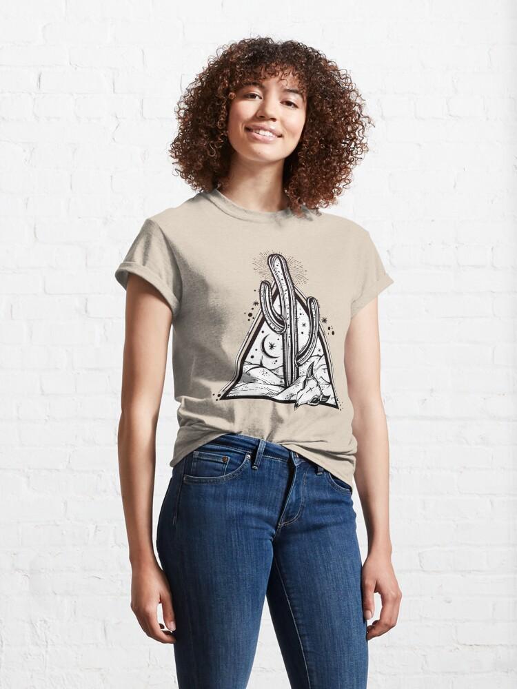 Alternate view of Cactus with Cow Skull Desert Scene inside Sacred Geometry Pyramid Classic T-Shirt