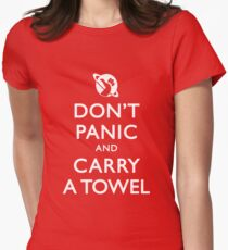 Don't Panic and Carry a Towel Women's Fitted T-Shirt