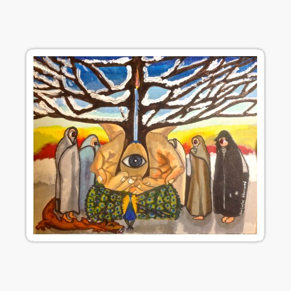 Watchers at the Tree of Creation: Pagan Solstice Celebration Sticker