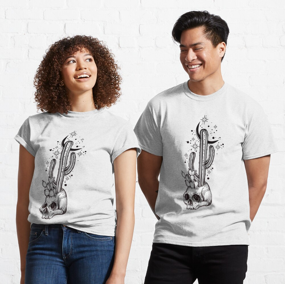 Cactus Growing from Skull in the Desert under Stars and Crescent Moon Classic T-Shirt