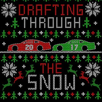 Stock Car Racing Drafting Through the Snow Ugly Christmas Sweater by TeeCreations
