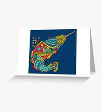 Narwhal, cool art from the AlphaPod Collection Greeting Card