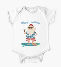 Retro Santa Claus Surfing Hawaiin Summer Christmas Kids Clothes