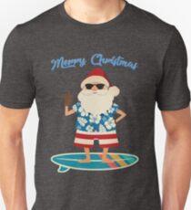 Retro Santa Claus Surfing Hawaiin Summer Christmas Unisex T-Shirt