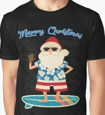 Retro Santa Claus Surfing Hawaiin Summer Christmas Graphic T-Shirt