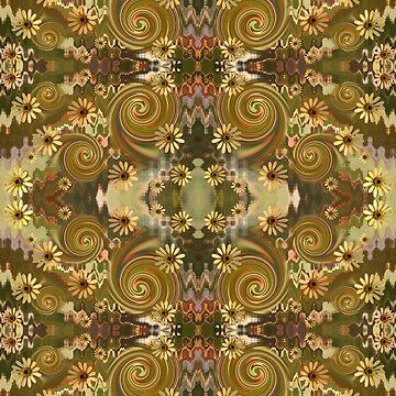 Daisy & Spirals fabric by yallmia