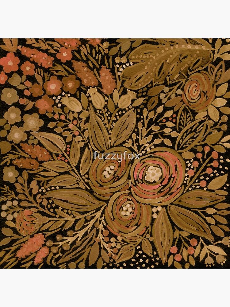 Watercolor .Black brown floral pattern .  by fuzzyfox