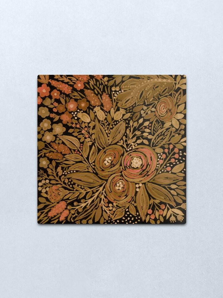 Alternate view of Watercolor .Black brown floral pattern .  Metal Print