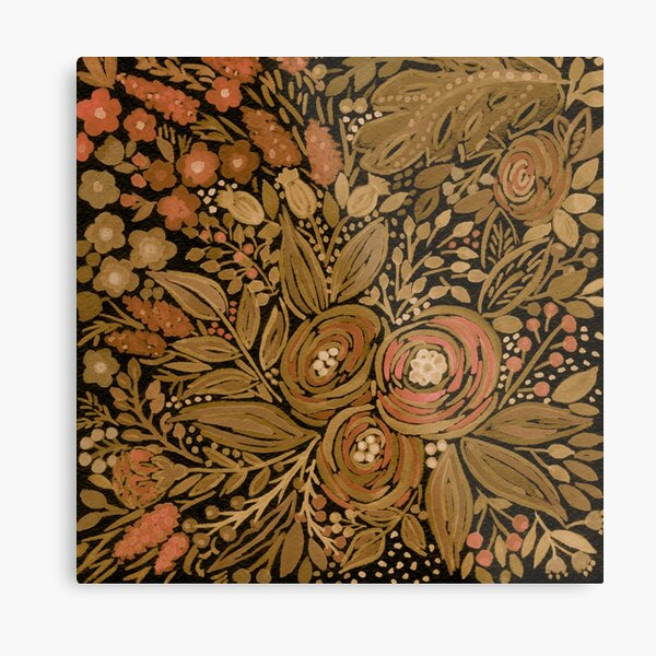 Watercolor .Black brown floral pattern .  Metal Print