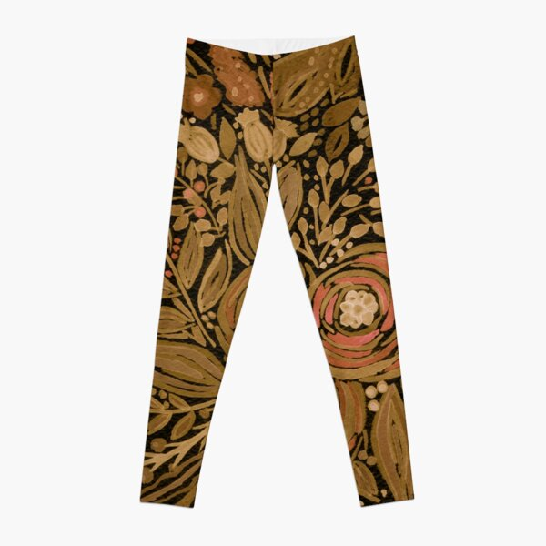 Watercolor .Black brown floral pattern .  Leggings