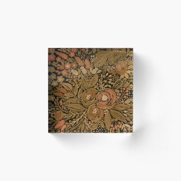 Watercolor .Black brown floral pattern .  Acrylic Block
