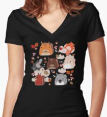 Kawaii Squirrels Women's Fitted V-Neck T-Shirt