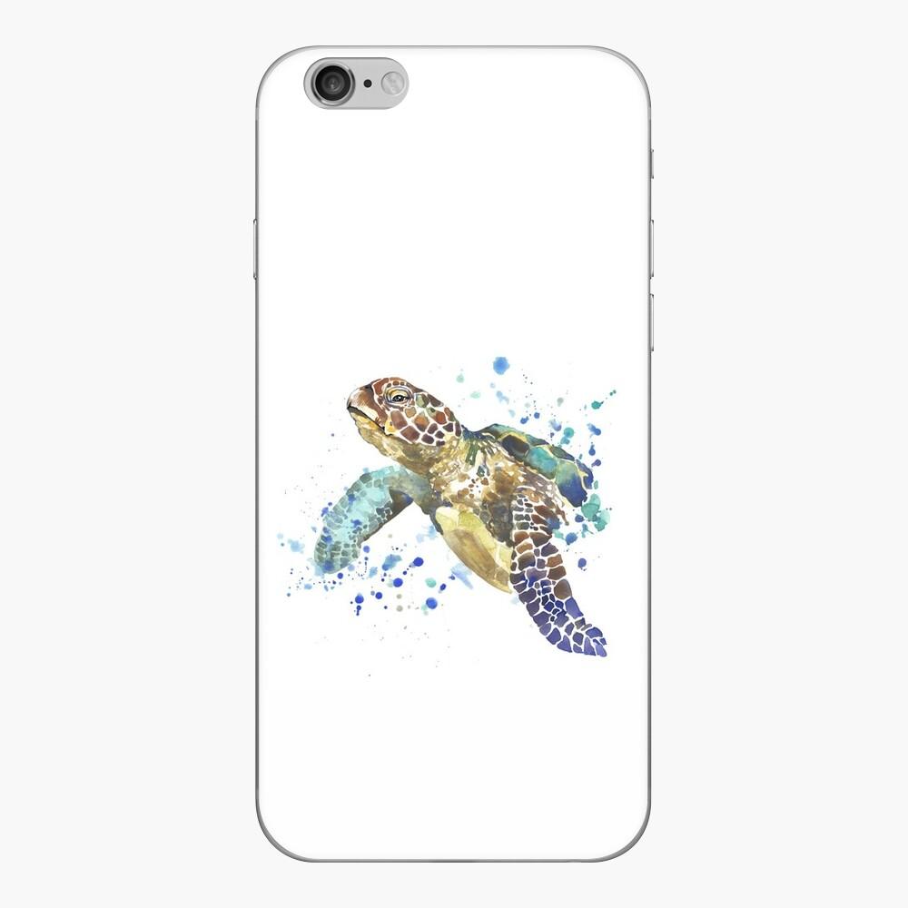 Blue & Green Sea Turtle Pastel Watercolor Painting iPhone Skin