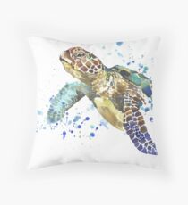 Blue & Green Sea Turtle Pastel Watercolor Painting Throw Pillow