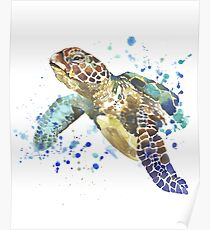 Blue & Green Sea Turtle Pastel Watercolor Painting Poster