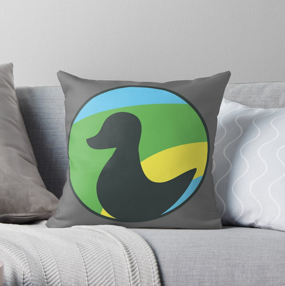 Siligong Valley logo w/text black Throw Pillow