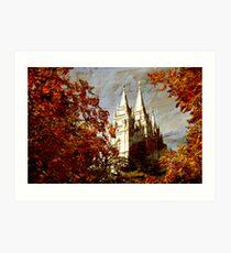 Salt Lake Temple - Autumn Season Art Print