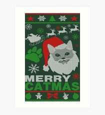 Merry Catmas Ugly Christmas Art Print