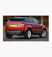 a Red Small SUV with Simple Design Photographic Print