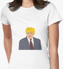 Donald Trump Illustration Cartoon  Women's Fitted T-Shirt