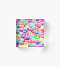 Bubble Hearts Dark Acrylic Block