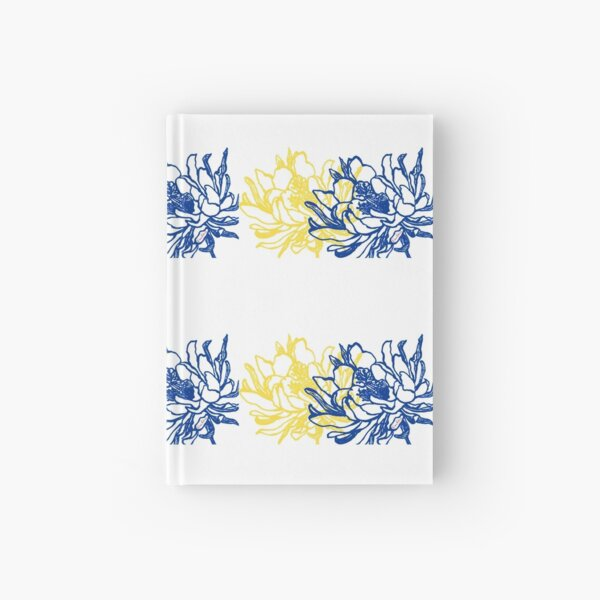 Night Blooming Cereus Blue and Yellow Hardcover Journal