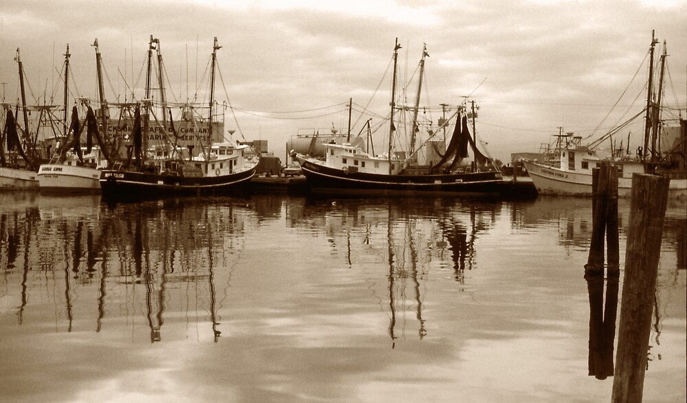 Shrimp Boats On The Texas Coast by Tex Smock