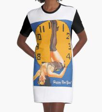 Pin up woman show midnight time on the New year, with her beautiful legs Graphic T-Shirt Dress