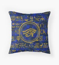 Egyptian Eye of Horus - Wadjet Lapis Lazuli Throw Pillow