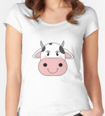 cute cow animation face | redbubble Women's Fitted Scoop T-Shirt