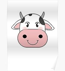 cute cow animation face | redbubble Poster