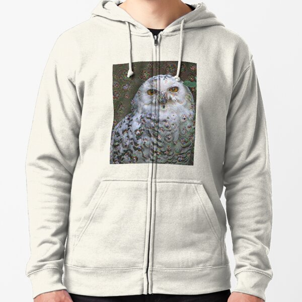Dream Creatures, Snowy Owl 001, DeepDream (Schnee-Eule) Zipped Hoodie