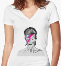 Aladdin Sane - David Bowie  Women's Fitted V-Neck T-Shirt
