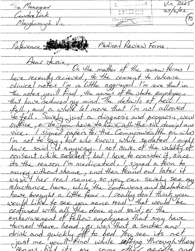 Letter of Complaint to CentreLink page 1 by Gregory John O'Flaherty
