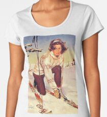 Young woman tie down her ski on a winter day Premium Scoop T-Shirt