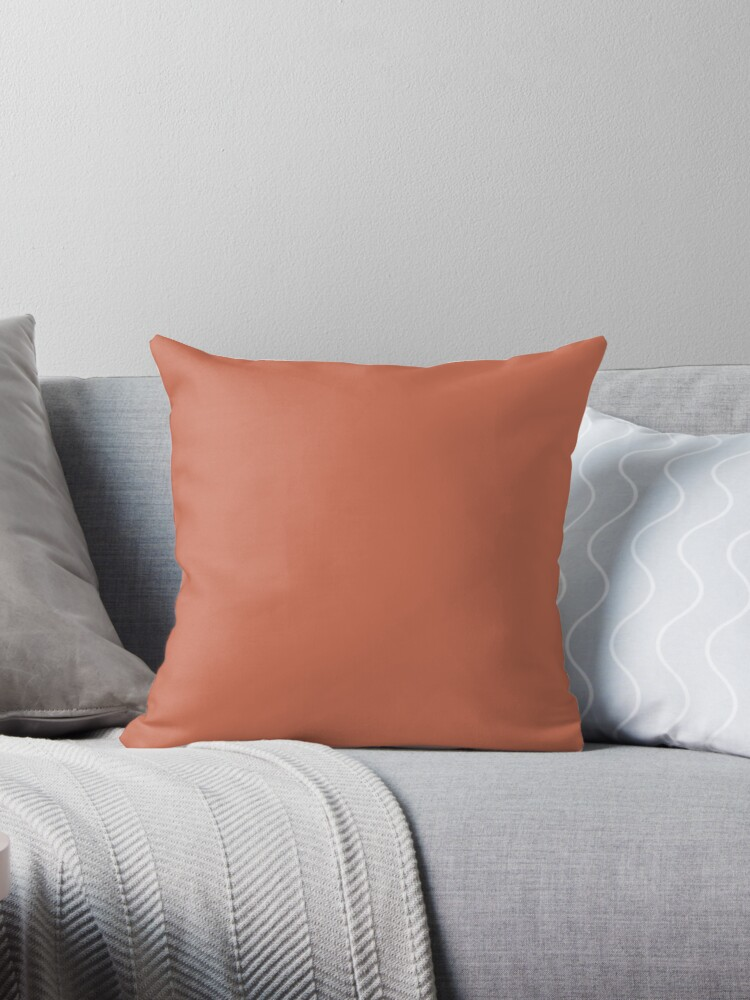 \'Beautiful Cushions/ Plain Copper red\' Throw Pillow by ozcushions