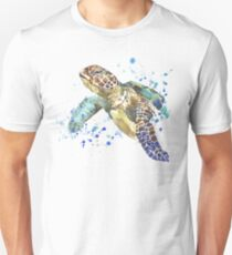 Blue & Green Sea Turtle Pastel Watercolor Painting T-Shirt