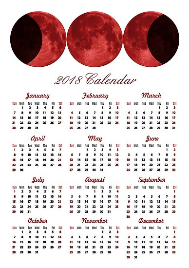 Red Triluna 2018 Calendar by VioletaOrts