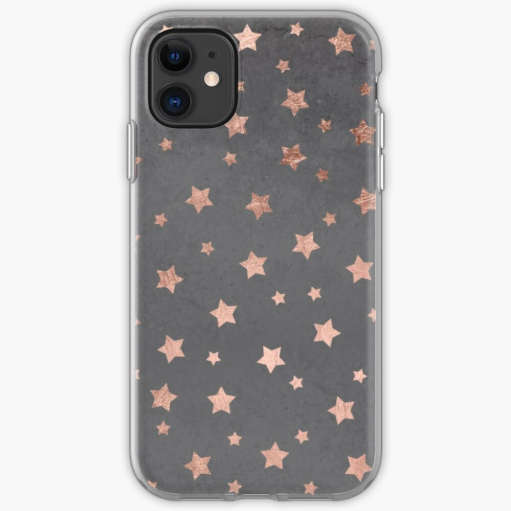 rose gold Christmas stars geometric pattern cement iPhone Case & Cover