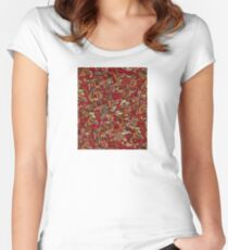 Effervescence  Flame by Amelia Caruso for Robert Kaufman Fitted Scoop T-Shirt
